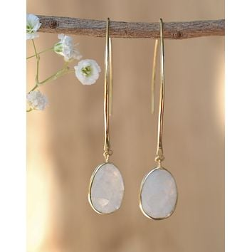 Gold Threader Earrings - Moonstone (BJE061D)