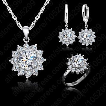 Fashion Sun Flower Cubic Zirconia  925 Sterling Silver Jewelry Sets Earrings Pendant Necklace Rings