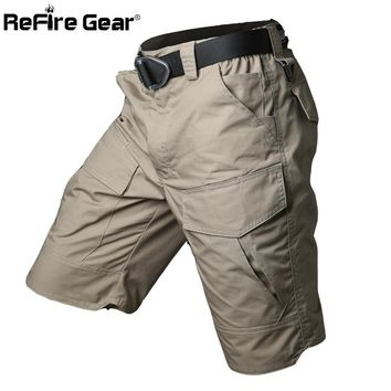 Summer Militar Waterproof Tactical Cargo Shorts Men Camouflage Army Military Short Male Pockets Cotton Rip-stop Casual Shorts