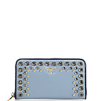 Prada - Saffiano Vernice Continental Wallet with Crystal & Studs - Saks Fifth Avenue Mobile
