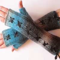 Corset Fingerless Gloves Mittens Gray Blue Azure Arm Warmers Wool