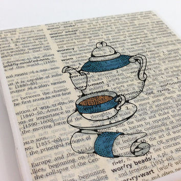 Ceramic Tile Coasters - Blue Tea Pot and Cup - Set of 4 - Upcycled Dictionary Page Book Art - Home Decor Teacup