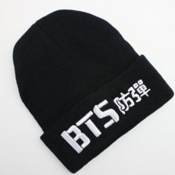 Fanstown BTS kpop beanie BTS bangtan 3D embroidery hat with BTS lomo cards
