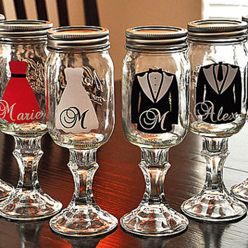 Redneck Wine Glasses for Wedding Party Mason Jar Hillbilly Wine Glasses (Pick One Glass)