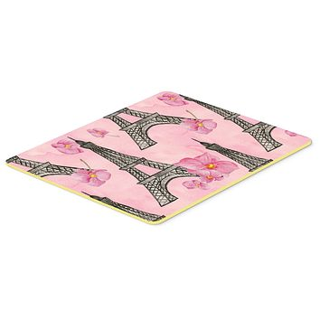 Watercolor Pink Flowers and Eiffel Tower Kitchen or Bath Mat 20x30 BB7511CMT