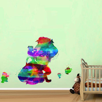 kcik2167 Full Color Wall decal Watercolor Character Disney Belle Beauty and the Beast children's room Sticker Disney