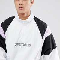 Sweet SKTBS 1/4 Zip Track Jacket In White at asos.com