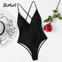 Romwe Sport Cross Back Ruched Plunge Swimsuit Women Black Push Up Plain Monokinis With Chest Pad 2018 Summer Sexy One Pieces