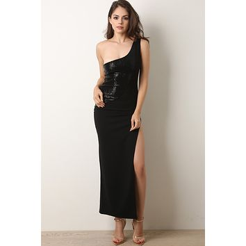 One Shoulder Sequins Side Slit Maxi Dress