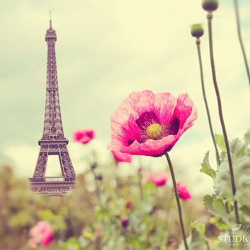 Paris Photography, Eiffel Tower, Poppies, Nature, French Decor, Travel Photo, Paris in Spring, Large Wall Decor, France, Summer, Pink, Love