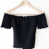 Smocked Off Shoulder Crop Top