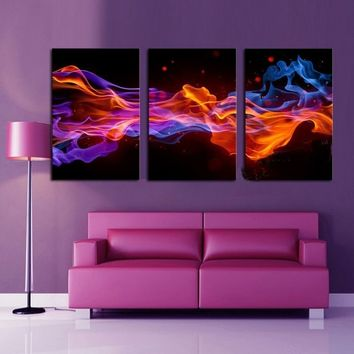 3 Panels Hot Sell Fire & Smoke Modern Home Wall Decor Painting Canvas Printing Art HD Printing Oil Painting (Size: 1)