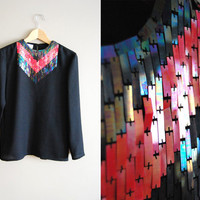 The Arrow Head - Vintage 80s Black Top Shirt Blouse with Sequin Collar Party Top Fall