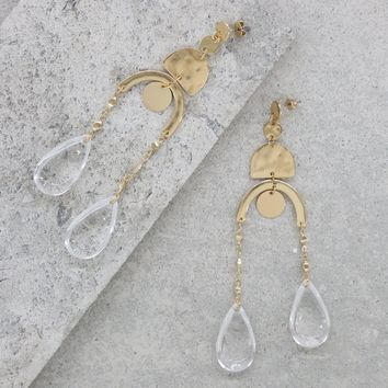 Abstract Art Earrings in Clear and Gold
