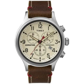 Timex Men's TW4B043009J Expedition Scout Chrono Brown Leather Slip-Thru Strap Watch
