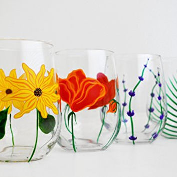 4 Piece Hand Painted Stemless Wine Glass Collection - Mother's Day Gift - Poppy, Sunflower, Lavender, Fern Glasses