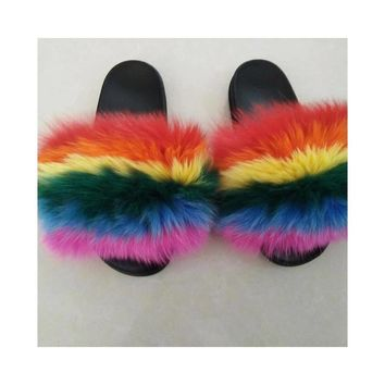 Rainbow Fur Slippers