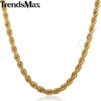 Trendsmax Womens Mens Necklace Fashion Jewelry Stainless Steel Gold Filled Rope Chain GN249-GN251