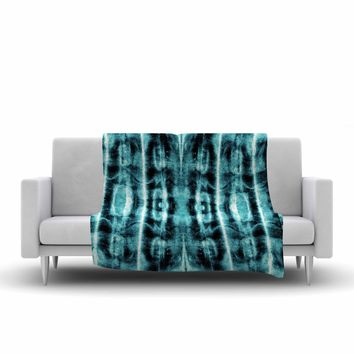 "Nina May ""Teal Vertical Shibori"" Teal White Abstract Stripes Mixed Media Watercolor Fleece Throw Blanket"