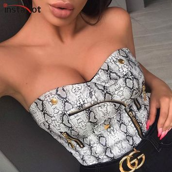 InstaHot Snake Print Zippers Pocket Pu Crop Tops Women Sexy Faux Leather Elastic Tube Tops Strapless Bustier Basic Top Seamless