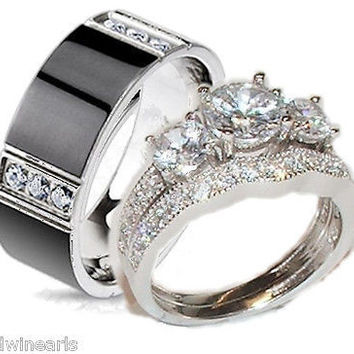 His Hers Cz Wedding Ring Set Sterling Silver & Titanium Wedding Rings