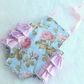 Baby Bubble Romper - Baby Girl Romper - Roses- pink ruffle- Girl Romper - Ready To Ship NB Romper - Blue - Pink -  Vintage look -Photo Prop