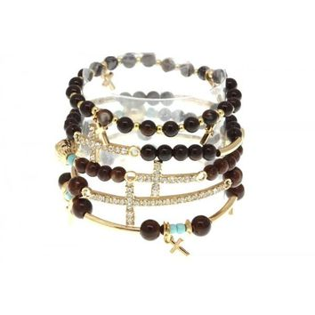 CLEAR CRYSTAL BROWN RESIN GOLD TONE CROSS BRACELET SET