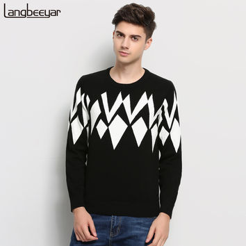Hot 2016 New Autumn Winter Fashion Brand Clothing Men's Sweaters Jacquard Slim Fit Men Pullover Knitting Patterns Sweater Men