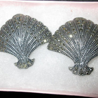 Art Deco Sterling Silver Marcasite Fan Shaped Earrings / Large 40s Earrings
