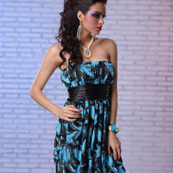 Blue Leaf Print Strapless Mini Dress