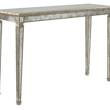 """Richard 52"""" Mirrored Console, Silver, Console Table"""