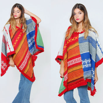 Vintage 70s ETHNIC Poncho Hippie Cape Woven Cotton Serape Boho Poncho with FRINGE