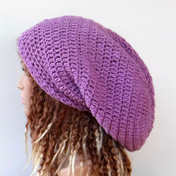 Light orchid purple Slouchy large Tam Dreadlock Hippie Beanie Dread Hat