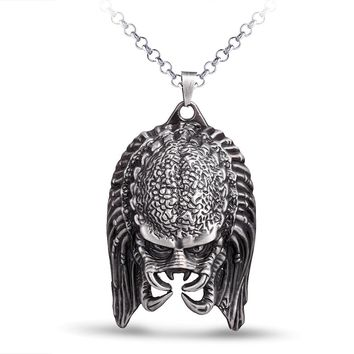 3 Styles Hot Film AVP Alien Predator Mask Necklace 4 Colors Mask Alloy AVP Pendant Necklace Fashion Jewelry for Men Boys