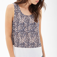 LOVE 21 Tiered Abstract Print Tank Navy/Ivory