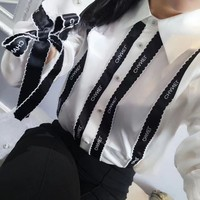 """Chanel"" Women Simple Fashion Letter Multicolor Stripe Ribbon Long Sleeve Shirt Tops"