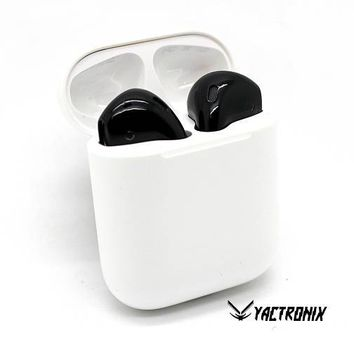 Custom Apple AirPods Wireless Earbuds - Custom Painted Black Black Earbuds - Colored AirPods