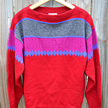 Vintage Red, Purple, Blue, and Grey College Town Sweater