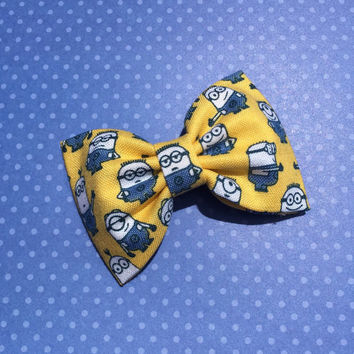 Cute Minion inspired hair bow set from Seaside Sparrow.  Hair bows for girls minion hair bow hair bow hair clip accessory hair bows bow