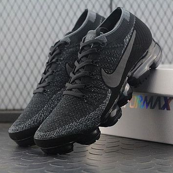 Sale 2018 Nike Air VaporMax Vapor Max 2018 Flyknit Men Women Triple Black Sport Running Shoes 899473-003