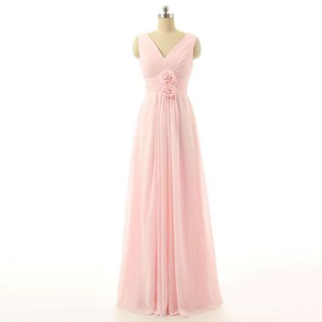 A Line Long Bridesmaid Dresses V Neck Chiffon With Flowers Pleat Sleeveless Floor Length Party Gowns