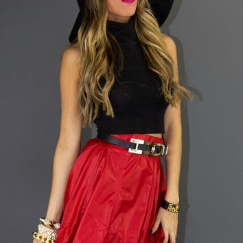 LEATHER FULL A LINE SKIRT - Red