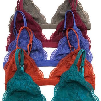 Sheer Lace Triangle Bralette