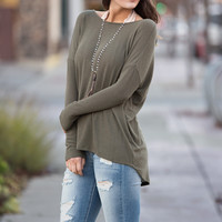 Back to Back Long Sleeve Open Back Lace Detail Top (Olive)
