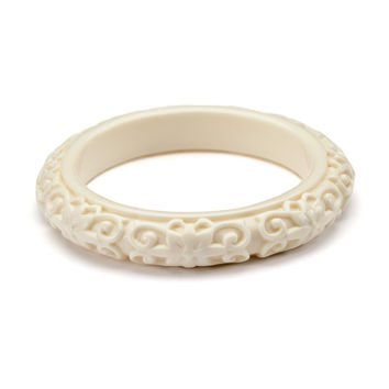 Kenneth Jay Lane Carved Ivory Bangle Bracelet