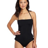 Jantzen Women's Casablanca Peplum One Piece Bandeau, Black, 16