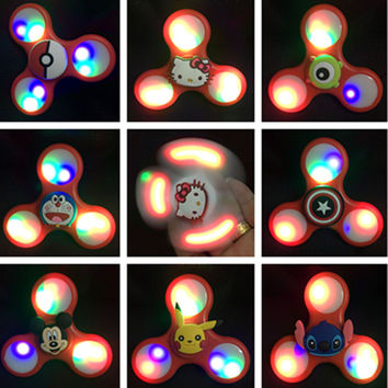 Cartoon Style with Random Color Light Up Fidget Hand Spinner Spinning Top Classic Toys
