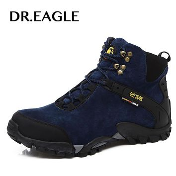 DR.EAGLE Winter men's hiking sneakers warm hunting climbing trekking shoes breathable hiking mountain waterproof hiking boots