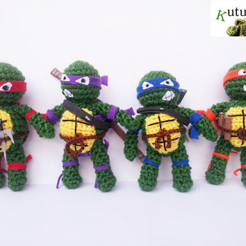 MUTANT NINJA TURTLES  tennage awesome leonardo raphael donatello michelangelo amigurumi crochet foamy amigurumi