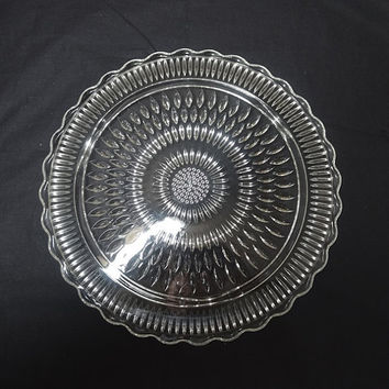 1960s Mid Century Pressed Glass Footed Glass Cake Plate Stand, 12.25 Inch Diameter, Unknown Tear Drop Pattern, Scalloped Border, Home Decor
